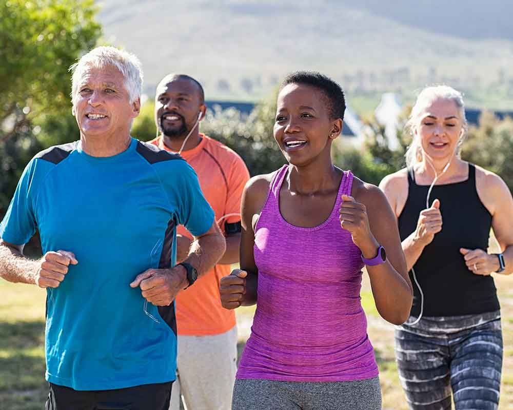 Group of people over 40 exercising